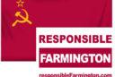 """Responsible Farmington"" Sign over Soviet Flag"